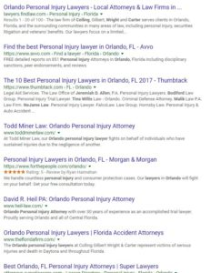 Organic Search Results of Law Firms