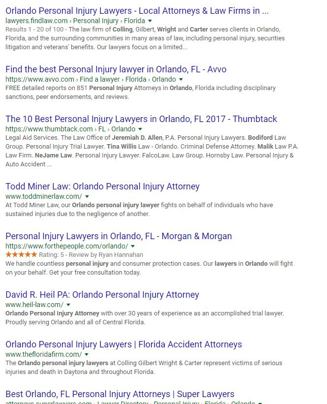 Organic Search Results of Law Firm - SEO